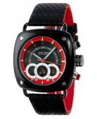 Klockor - Modeklocka från EOS New York Men's 173SBLKRED Gauge Leather Strap Watch