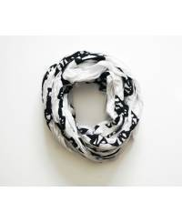 Mode - BrianneFaye Scarf Kisses with Snakes- Black & White